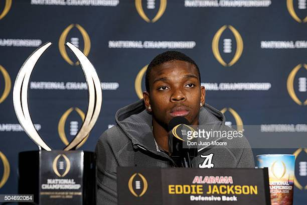 Defensive Back Eddie Jackson of the Alabama Crimson Tide addresses the media during the MVP Press Conference after winning the Defensive Player of...