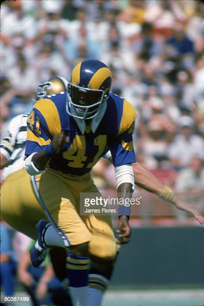 Defensive back Eddie McMillan of the Los Angeles Rams runs in pursuit in an NFL game against the New Orleans Saints at the Los Angeles Memorial...
