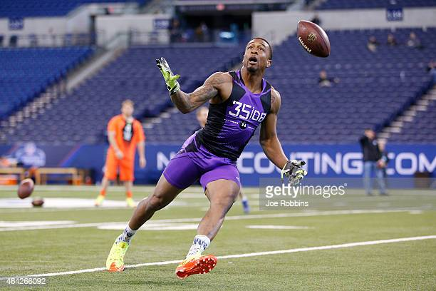 Defensive back Garry Peters of Clemson competes during the 2015 NFL Scouting Combine at Lucas Oil Stadium on February 23 2015 in Indianapolis Indiana