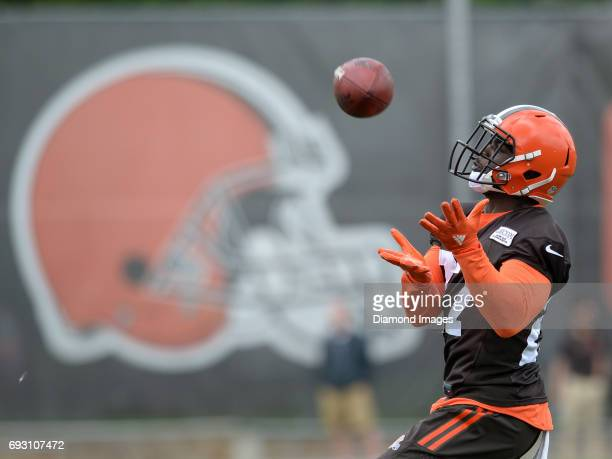 Defensive back Jabrill Peppers of the Cleveland Browns fields a punt during an OTA practice on June 6 2017 at the Cleveland Browns training facility...
