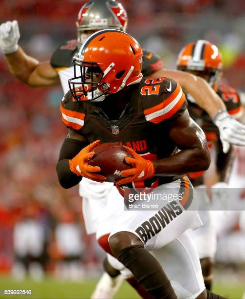 Defensive back Jabrill Peppers of the Cleveland Browns intercepts a pass by quarterback Jameis Winston of the Tampa Bay Buccaneers at the goal line...