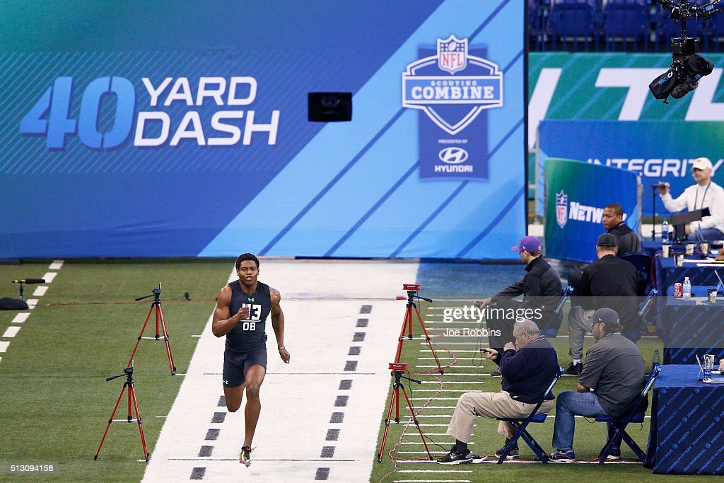 Defensive back Jalen Ramsey of Florida State runs the 40yard dash during the 2016 NFL Scouting Combine at Lucas Oil Stadium on February 29 2016 in...