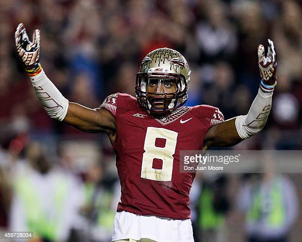 Defensive back Jalen Ramsey of the Florida State Seminoles during the game against the University of Florida Gators at Doak Campbell Stadium on Bobby...