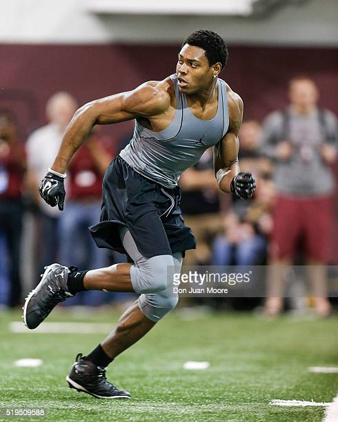 Defensive back Jalen Ramsey of the Florida State Seminoles works out for NFL scouts and coaches during Florida State Pro Day at the Dunlap Training...