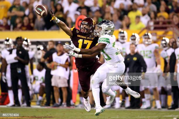 Defensive back J'Marcus Rhodes of the Arizona State Sun Devils blocks a pass intended for wide receiver Jaylon Redd of the Oregon Ducks during the...