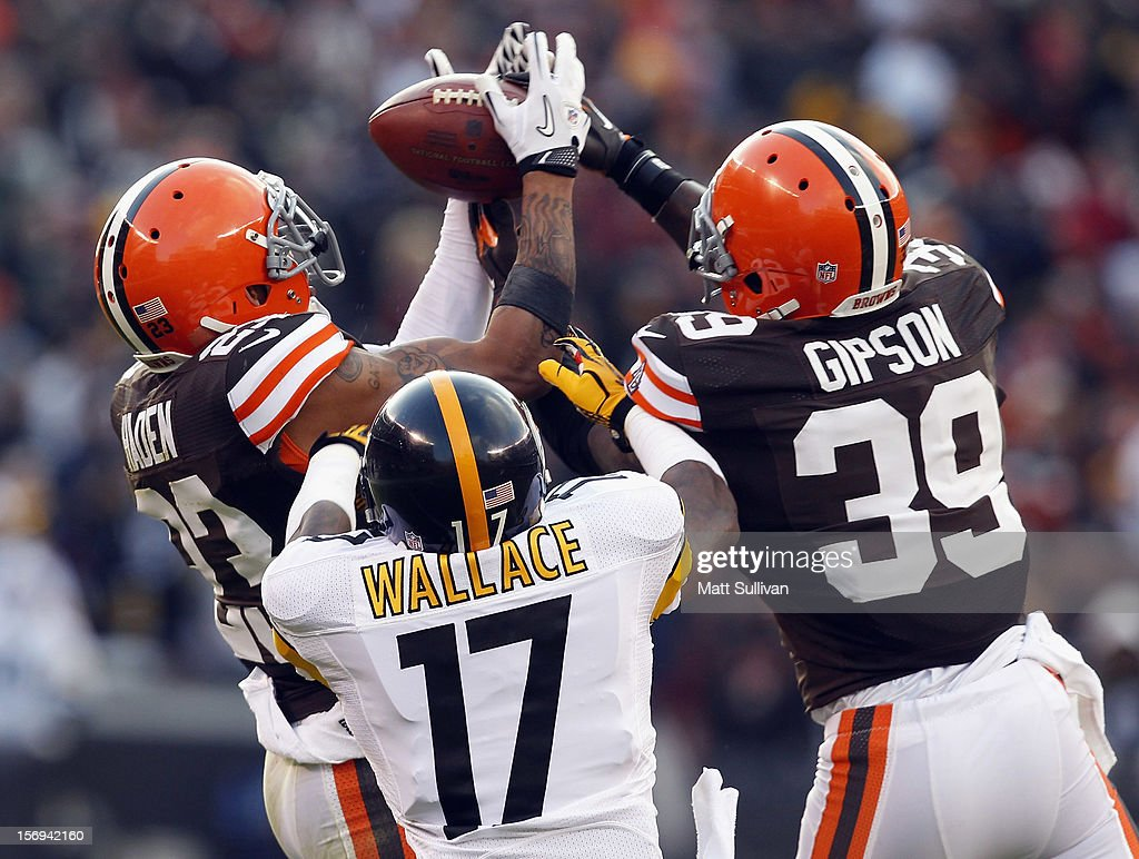 Defensive back Joe Haden #23 of the Cleveland Browns intercepts a pass as teammate Tashaun Gipson #39 and wide receiver Mike Wallace #17 of the Pittsburgh Steelers look on at Cleveland Browns Stadium on November 25, 2012 in Cleveland, Ohio.