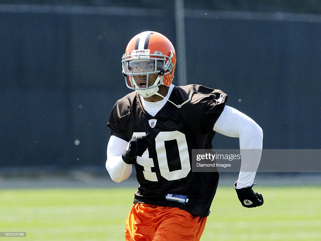 Defensive back Joe Haden #40 of the Cleveland Browns runs sprints during the team's organized team activity (OTA) on May 27, 2010 at the Cleveland Browns practice facility in Berea, Ohio.