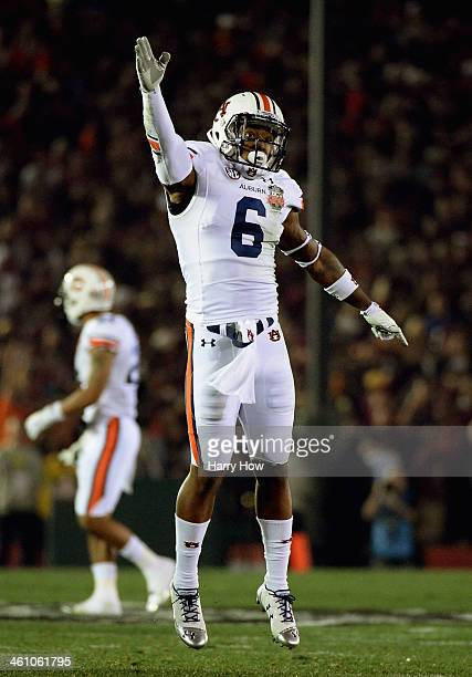 Defensive back Jonathon Mincy of the Auburn Tigers celebrates after a fumble by the Florida State Seminoles during the 2014 Vizio BCS National...