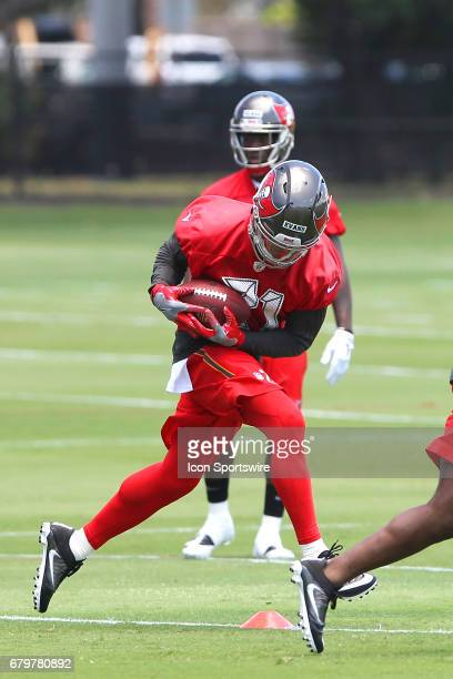 Defensive back Justin Evans makes a catch during the Buccaneers Rookie Camp on May 05 2017 at One Buccaneer Place in Tampa Florida