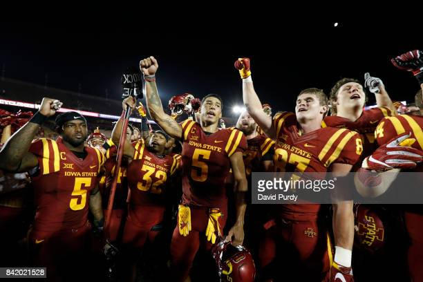 defensive back Kamari CottonMoya David Montgomery wide receiver Allen Lazard and tight end Sam Harms of the Iowa State Cyclones celebrate with...