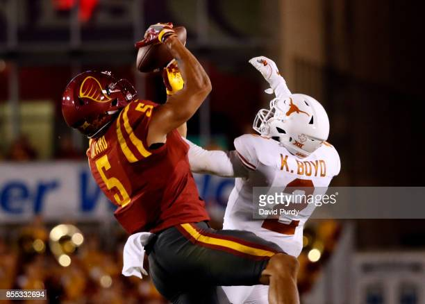 Defensive back Kris Boyd of the Texas Longhorns breaks up a pass meant for wide receiver Allen Lazard of the Iowa State Cyclones in the second half...