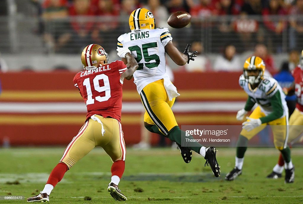 Defensive back Marwin Evans #25 of the Green Bay Packers intercepts a pass jumping in front of wide receiver DiAndre Campbell #19 of the San Francisco 49ers in the second half of their preseason football game at Levi's Stadium on August 26, 2016 in Santa Clara, California.