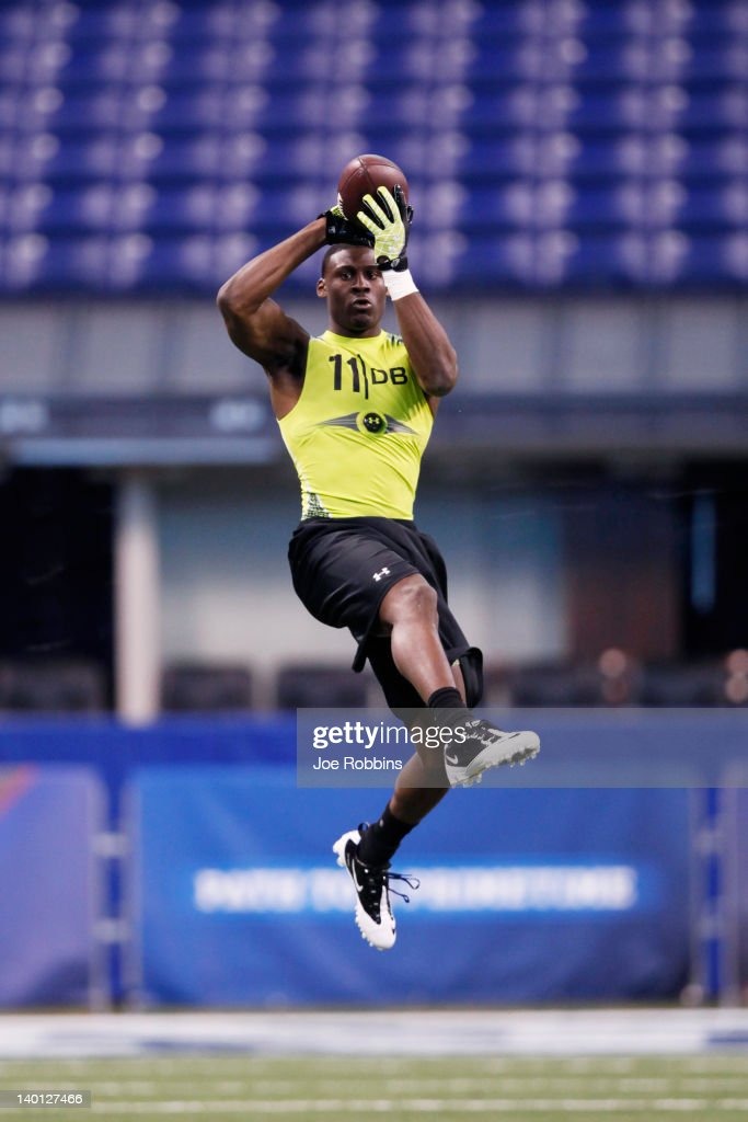 Defensive back <a gi-track='captionPersonalityLinkClicked' href=/galleries/search?phrase=Morris+Claiborne&family=editorial&specificpeople=7173017 ng-click='$event.stopPropagation()'>Morris Claiborne</a> of LSU participates in a drill during the 2012 NFL Combine at Lucas Oil Stadium on February 28, 2012 in Indianapolis, Indiana.