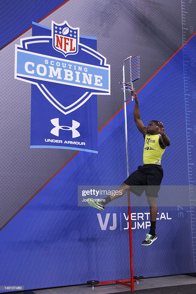 Defensive back <a gi-track='captionPersonalityLinkClicked' href=/galleries/search?phrase=Morris+Claiborne&family=editorial&specificpeople=7173017 ng-click='$event.stopPropagation()'>Morris Claiborne</a> of LSU participates in the vertical jump during the 2012 NFL Combine at Lucas Oil Stadium on February 28, 2012 in Indianapolis, Indiana.