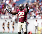 Defensive Back Nate Andrews of the Florida State Seminoles during the Spring Game at the Florida Citrus Bowl in Orlando Florida on April 9 2016 in...