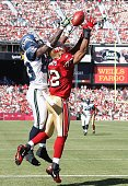 Defensive back Nate Clements of the San Francisco 49ers breaks up a pass intended for wide receiver Deion Branch of the Seattle Seahawks at Monster...