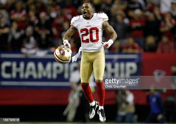 Defensive back Perrish Cox of the San Francisco 49ers reacts after stopping the Atlanta Falcons on fourth down in the fourth quarter in the NFC...
