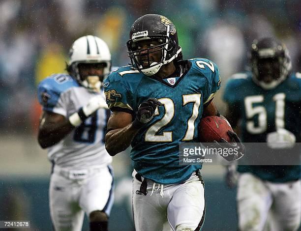 Defensive Back Rashean Mathis of the Jacksonville Jaguars runs back an interception against the Tennessee Titans November 5 2006 at Alltel Stadium in...