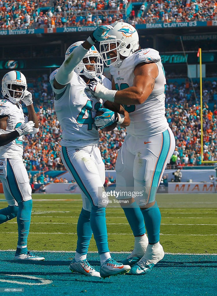 Defensive back RJ Stanford of the Miami Dolphins celebrates his second quarter interception in the endzone with teammate defensive tackle Jared...