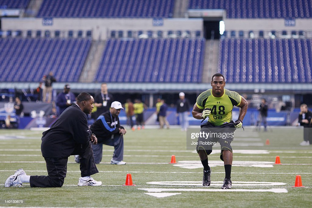 Defensive back Sean Richardson of Vanderbilt participates in a drill during the 2012 NFL Combine at Lucas Oil Stadium on February 28, 2012 in Indianapolis, Indiana.