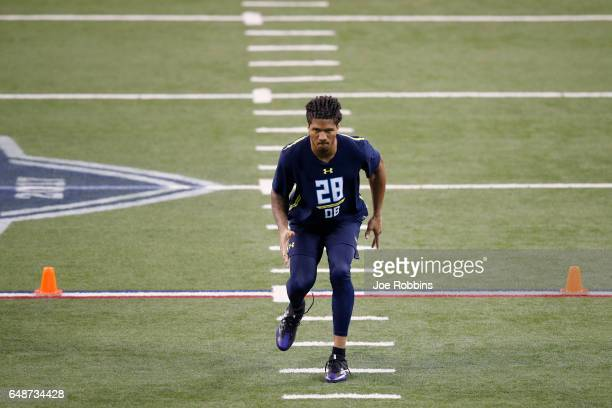 Defensive back Sidney Jones of Washington participates in a drill during day six of the NFL Combine at Lucas Oil Stadium on March 6 2017 in...