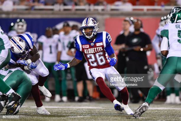 Defensive back Tyree Hollins of the Montreal Alouettes runs against the Saskatchewan Roughriders during the CFL game at Percival Molson Stadium on...