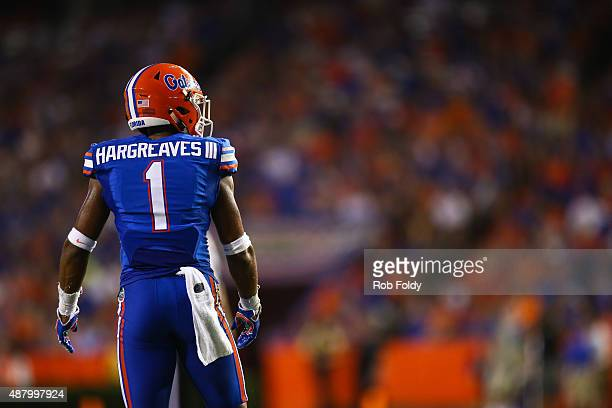 Defensive back Vernon Hargreaves III of the Florida Gators looks on during the game against the New Mexico State Aggies at Ben Hill Griffin Stadium...