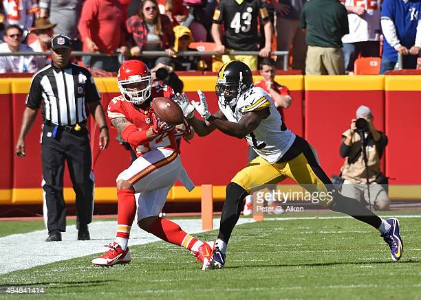 Defensive back William Gay of the Pittsburgh Steelers brakes up a pass intended for wide receiver Albert Wilson of the Kansas City Chiefs during the...