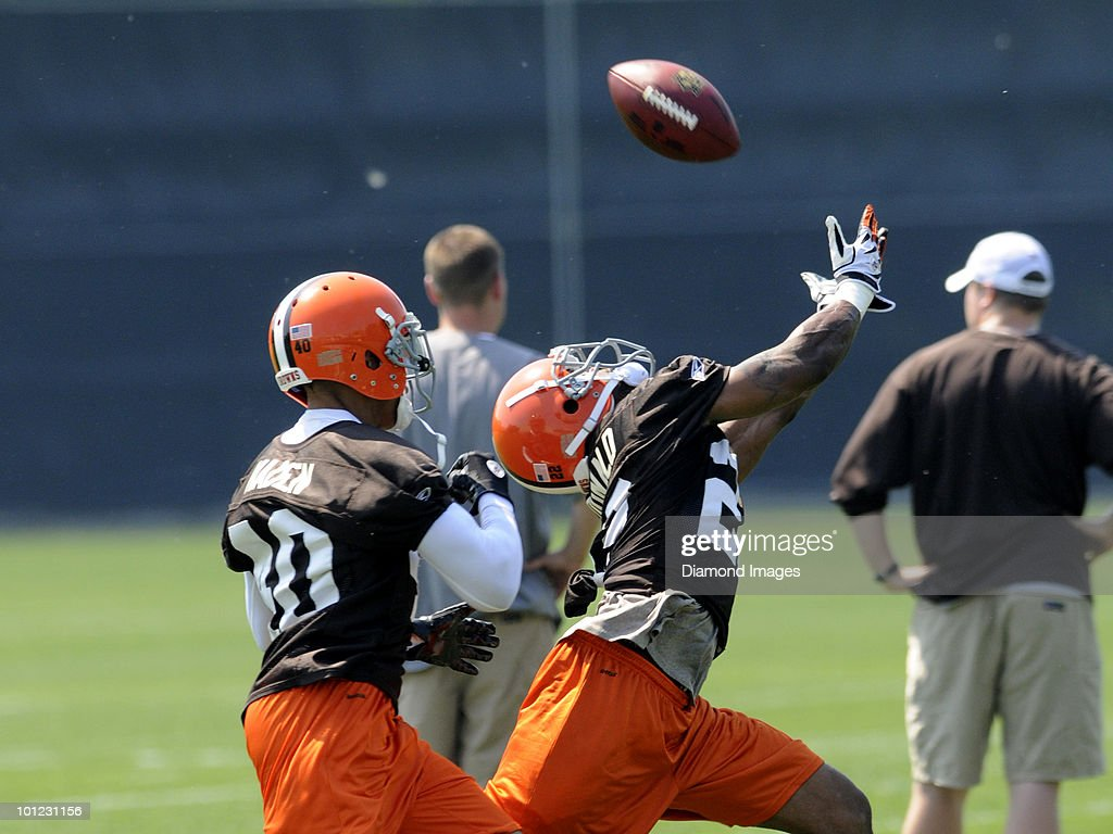 Defensive backs Joe Haden #40 and Brandon McDonald #22 of the Cleveland Browns battle for a pass during the team's organized team activity (OTA) on May 27, 2010 at the Cleveland Browns practice facility in Berea, Ohio.