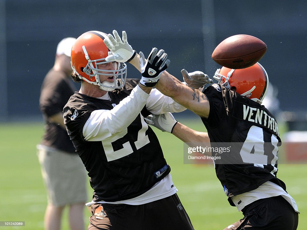 Defensive backs Nick Sorensen #27 and Ray Ventrone #41 of the Cleveland Browns battle for a pass during the team's organized team activity (OTA) on May 27, 2010 at the Cleveland Browns practice facility in Berea, Ohio.