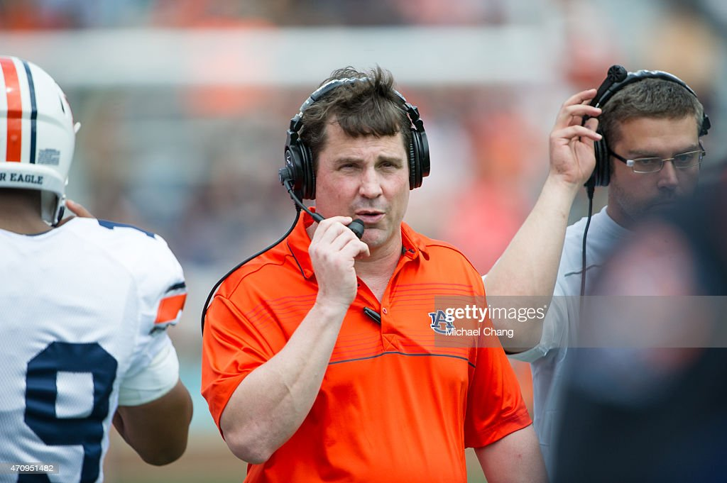 Defensive coordinator and former Florida Gators head coach Will Muschamp of Auburn Tigers prior to Auburn's ADay game on April 18 2015 at JordanHare...