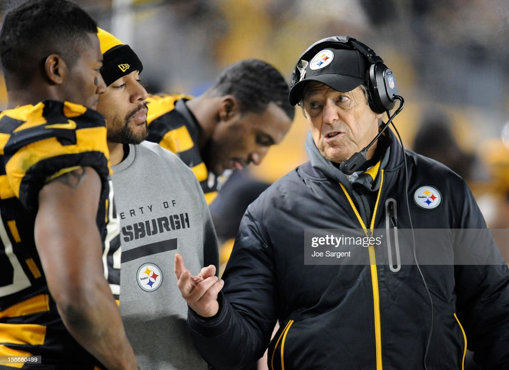 Defensive Coordinator Dick Lebeau of the Pittsburgh Steelers talks with <a gi-track='captionPersonalityLinkClicked' href=/galleries/search?phrase=Troy+Polamalu&family=editorial&specificpeople=206488 ng-click='$event.stopPropagation()'>Troy Polamalu</a> #43 and <a gi-track='captionPersonalityLinkClicked' href=/galleries/search?phrase=Ryan+Clark+-+American+Football+Player&family=editorial&specificpeople=220744 ng-click='$event.stopPropagation()'>Ryan Clark</a> #25 during the third quarter against the Baltimore Ravens on November 18, 2012 at Heinz Field in Pittsburgh, Pennsylvania.