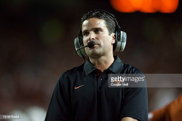 Defensive coordinator Manny Diaz of the University of Texas Longhorns looks on as his team plays against the University of New Mexico Lobos on...