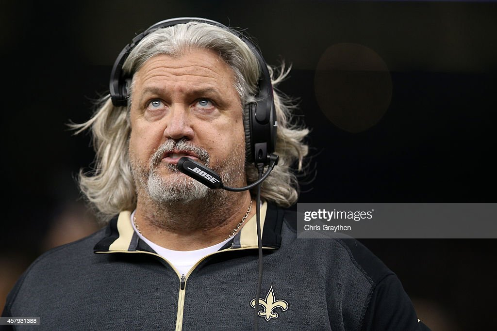 Defensive Coordinator Rob Ryan of the New Orleans Saints against the Green Bay Packers at Mercedes-Benz Superdome on October 26, 2014 in New Orleans, Louisiana.