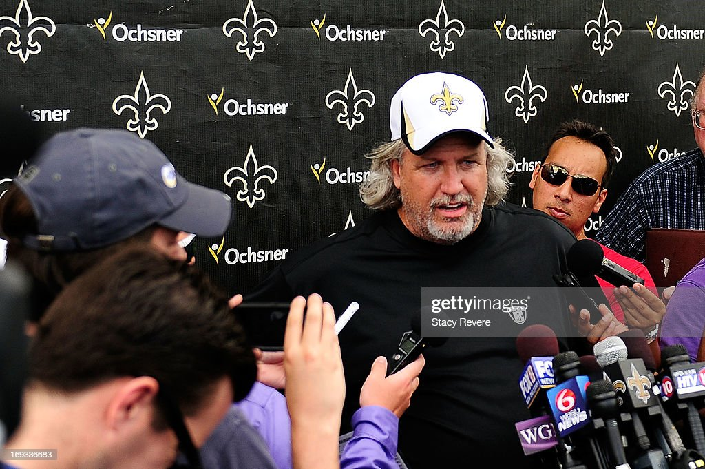 Defensive coordinator Rob Ryan of the New Orleans Saints speaks with media following OTA's, organized team activities, at the Saints training facility on May 23, 2013 in Metairie, Louisiana.