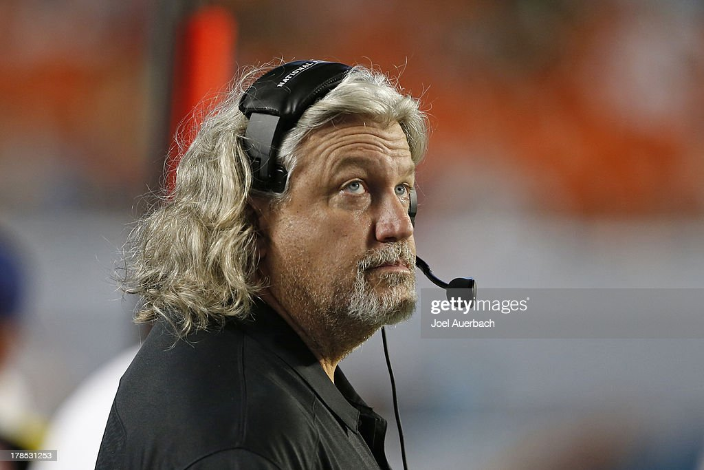 Defensive Coordinator Rob Ryan of the New Orleans Saints watches a replay during third quarter action against the Miami Dolphins during a preseason game on August 29, 2013 at Sun Life Stadium in Miami Gardens, Florida. The Dolphins defeated the Saints 24-21.