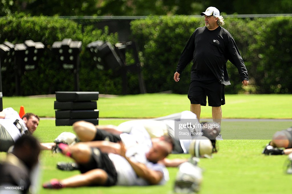 Defensive coordinator Rob Ryan of the New Orleans Saints watches his team during OTA's, organized team activities, at the Saints training facility on May 23, 2013 in Metairie, Louisiana.