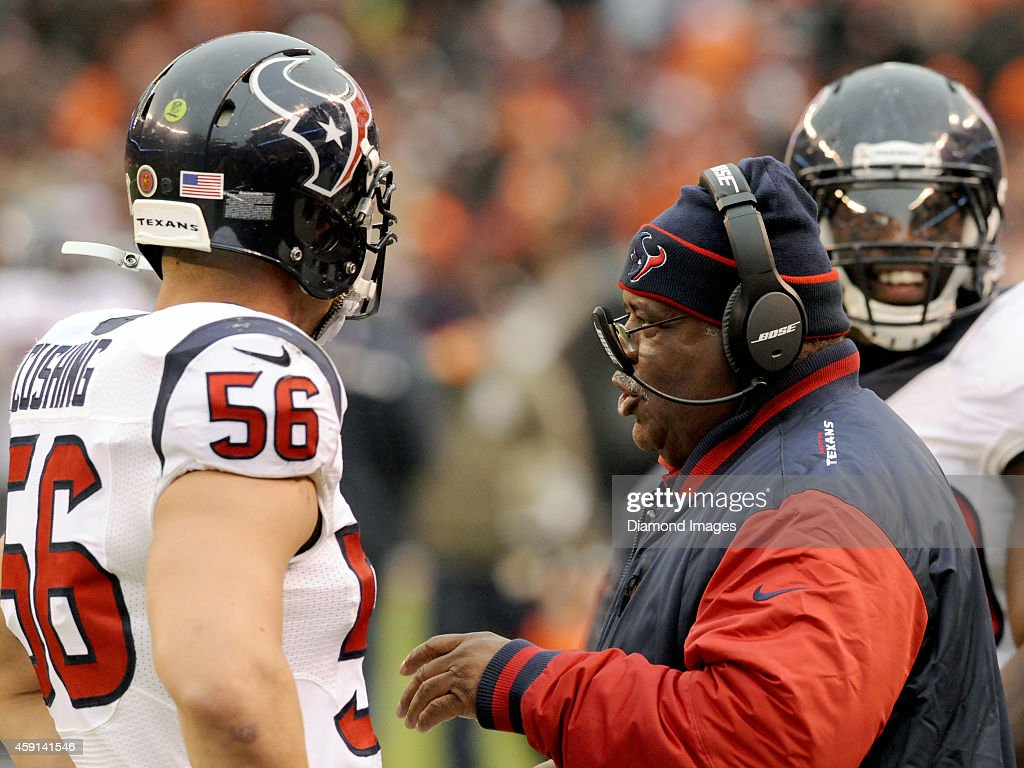 Defensive coordinator <a gi-track='captionPersonalityLinkClicked' href=/galleries/search?phrase=Romeo+Crennel&family=editorial&specificpeople=564028 ng-click='$event.stopPropagation()'>Romeo Crennel</a> of the Houston Texans talks with linebacker <a gi-track='captionPersonalityLinkClicked' href=/galleries/search?phrase=Brian+Cushing&family=editorial&specificpeople=2107368 ng-click='$event.stopPropagation()'>Brian Cushing</a> #56 on the sideline during a game against the Cleveland Browns on November 16, 2014 at FirstEnergy Stadium in Cleveland, Ohio. Houston won 23-7.