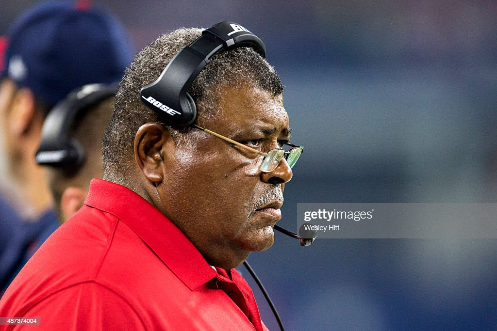 Defensive Coordinator <a gi-track='captionPersonalityLinkClicked' href=/galleries/search?phrase=Romeo+Crennel&family=editorial&specificpeople=564028 ng-click='$event.stopPropagation()'>Romeo Crennel</a> of the Houston Texans watches on the sidelines during a preseason game against the Dallas Cowboys at AT&T Stadium on September 3, 2015 in Arlington, Texas. The Cowboys defeated the Texans 21-14.