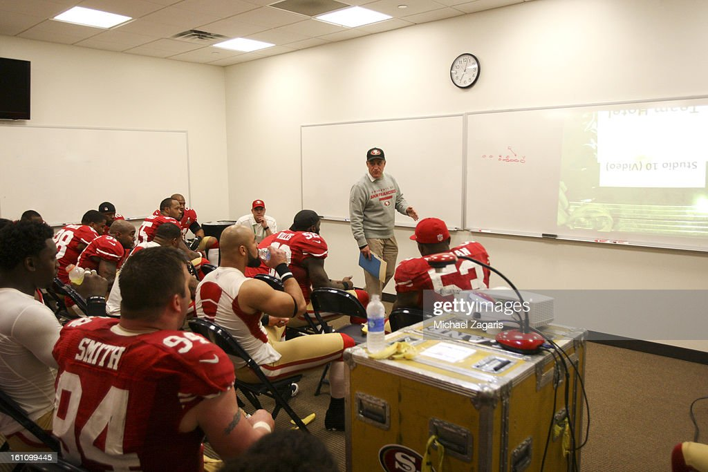 Defensive Coordinator Vic Fangio of the San Francisco 49ers talks with the defense in the locker room during halftime of Super Bowl XLVII against the Baltimore Ravens at the Mercedes-Benz Superdome on February 3, 2013 in New Orleans, Louisiana. The Ravens won 34-31.