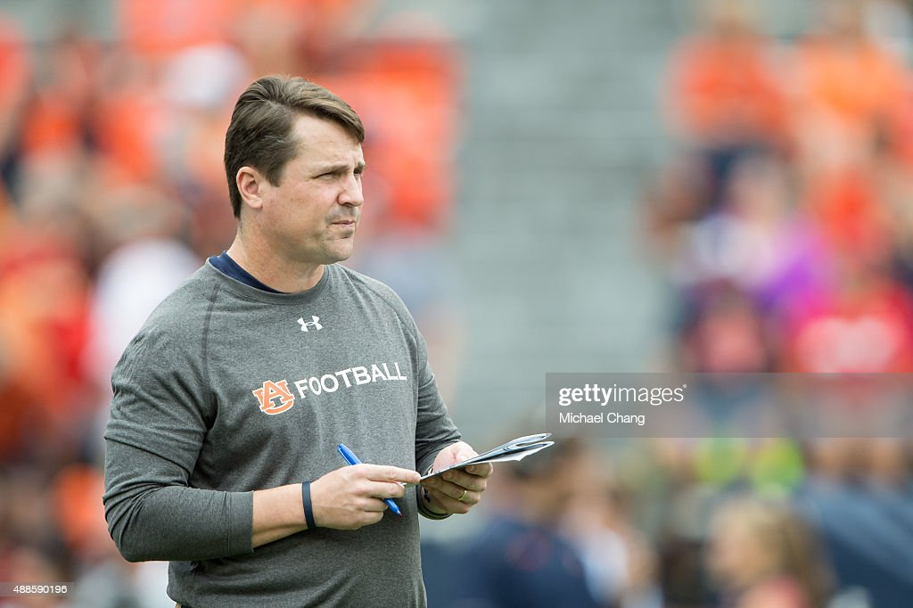 Defensive coordinator Will Muschamp of the Auburn Tigers prior to their game against the Jacksonville State Gamecocks on September 12 2015 at...