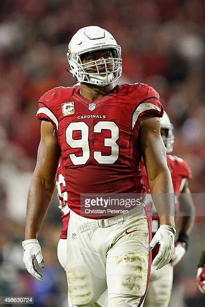 Defensive end Calais Campbell of the Arizona Cardinals during the NFL game against the Cincinnati Bengals at the University of Phoenix Stadium on...