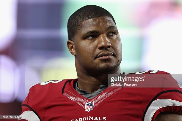 Defensive end Calais Campbell of the Arizona Cardinals on the sidelines during the preseaon NFL game against the Denver Broncos at the University of...