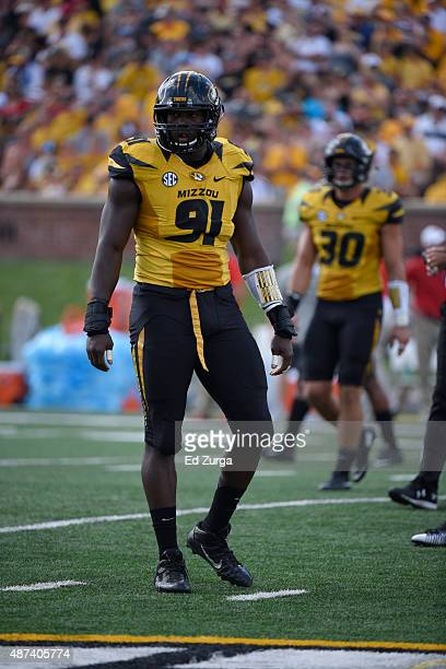 Defensive end Charles Harris of the Missouri Tigers in action against the Southeast Missouri State Redhawks at Memorial Stadium on September 5 2015...