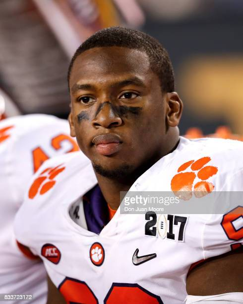 Defensive End Clelin Ferrell of the Clemson Tigers on the sidelines during the 2017 College Football Playoff National Championship Game against the...