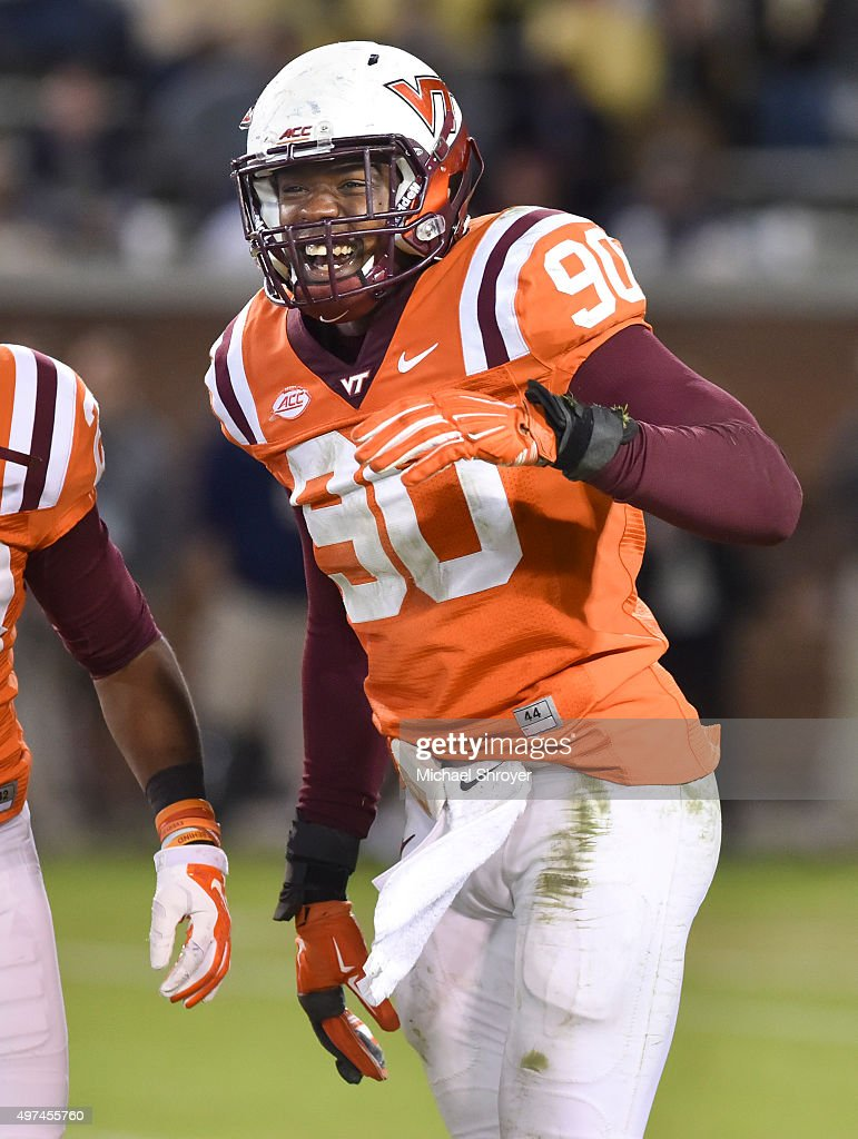 Defensive end <a gi-track='captionPersonalityLinkClicked' href=/galleries/search?phrase=Dadi+Nicolas&family=editorial&specificpeople=8599685 ng-click='$event.stopPropagation()'>Dadi Nicolas</a> #90 of the Virginia Tech Hokies reacts in the second half against the Georgia Tech Yellow Jackets at Bobby Dodd Stadium on November 12, 2015 in Atlanta, Georgia. Virginia Tech defeated Georgia Tech 23-21.