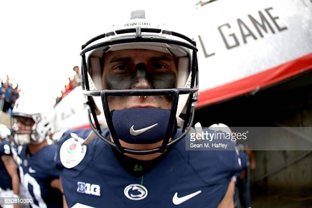 Defensive end Evan Schwan of the Penn State Nittany Lions looks on prior to the 2017 Rose Bowl Game presented by Northwestern Mutual against the USC...