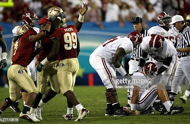 Defensive end Everette Brown of the Florida State Semilnoles celebrates a sack against quarterback John Parker Wilson of the University of Alabama...