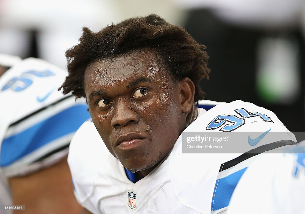 Defensive end <a gi-track='captionPersonalityLinkClicked' href=/galleries/search?phrase=Ezekiel+Ansah&family=editorial&specificpeople=9750646 ng-click='$event.stopPropagation()'>Ezekiel Ansah</a> #94 of the Detroit Lions during the NFL game against the Arizona Cardinals at the University of Phoenix Stadium on September 15, 2013 in Glendale, Arizona. The Carindals defeated the Lions 25-21.