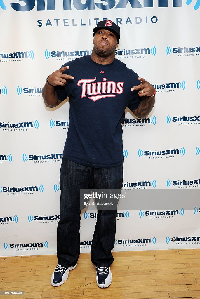 Defensive end for the Baltimore Ravens, Terrell Suggs visits the SiriusXM Studios on February 27, 2013 in New York City.